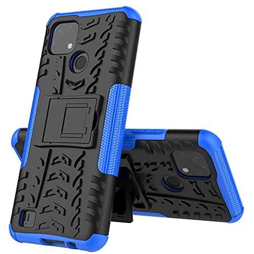 Liner Hülle für Realme C21, Militärstandard Strapazierfähig Robust Handyhülle Outdoor Stoßfest Handy Hülle Schutzhülle mit Stabilem Ständer für Realme C21 - Blau