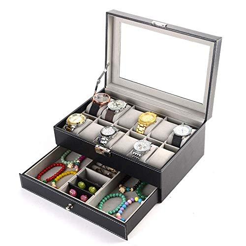 JIAJBG Caja de almacenamiento de joyería de 12 dígitos doble reloj joyero de alta gama PU caja de almacenamiento de joyería 30 x 20 x 13 cm exquisito/negro / 30 x 20 x 13 cm
