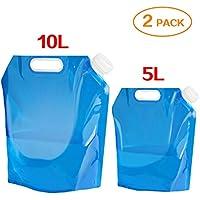 2x–Bidón de agua plegable, Ariel de GXR portátil plegable Agua Potable [5L + 10L] Depósito de agua depósito de agua para senderismo camping picnic Travel BBQ