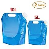 Ariel-gxr Set de 2bidons pliables et portables pour eau potable (5 l + 10 l) Convient pour la randonnée, le...