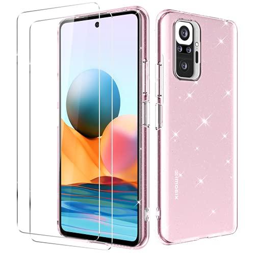 Oududianzi - Hülle für Xiaomi Redmi Note 10 Pro/Note 10 Pro Max + [2X Panzerglas Bildschirmschutzfolie] [Glitter Transparent Hülle] Superdünne Stoßfeste Silikon Schutzhülle - Rosa