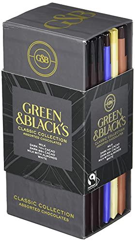 Green & Black's Chocolate Gift Set, 85% Dark Chocolate, 70% Dark Chocolate, Milk Chocolate with Almonds & White Chocolate, 6 - 3.17 oz Organic Chocolate Bars