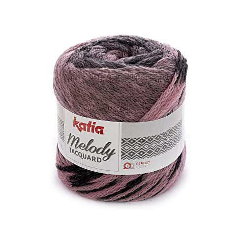 Katia Melody Jacquard 258 - Ovillo de lana merino, 100 g, 280 m, color rosa y negro