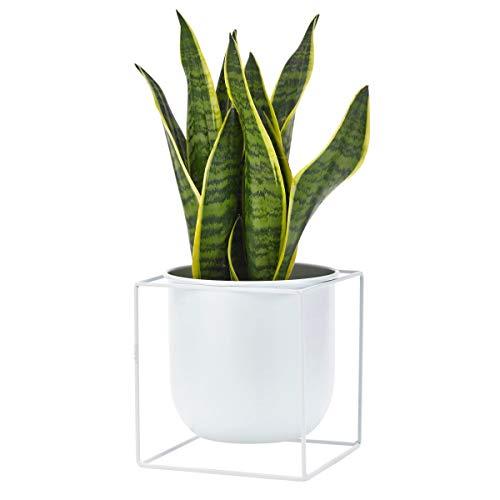 Pureday Übertopf mit Ständer Cube - Blumentopf - Metall - Weiß - ca. Höhe 20,5 x Ø 19 cm