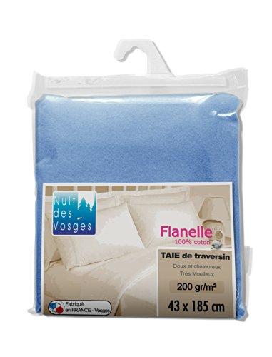 Nuit des Vosges 2114621 Caen Taie de Traversin Flanelle Unie/Coton Bleu Glacier 43 x 185 cm