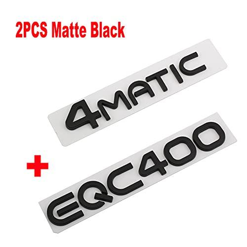 BYTT Letras 3D Word EQC400 Placa de identificación para el logotipo del tronco trasero EQC 350 400 plateado negro estilo del coche (nombre del color: negro mate 2 piezas)