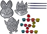 Easter DIY Suncatcher Kits with Paint Pots and Paint Brush (Pack of 3 Styles: Bunny, Flower, Chick) Easter Party Craft Ideas, Decorations