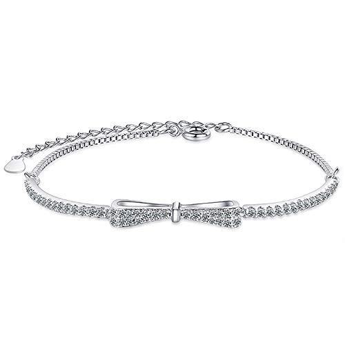 YooAi Bracelet for Women Bow Knot Cubic Zirconia Sparkle Charm Adjustable Bracelet Jewellery Gift Silver