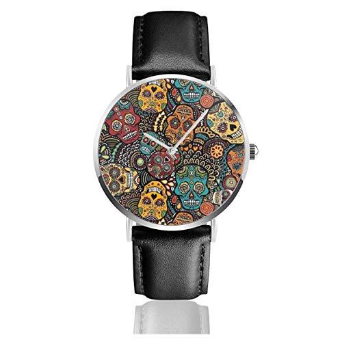 Mexikanische Zuckerschädel Schwarzes Quarzwerk Lederarmbanduhren Armbanduhren