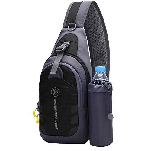 Schultertasche Brusttasche Herrentaschen Chest Bag Schultertasche mit Wasserflasche Outdoor Sling Crossbody Bag Schulter Rucksack Wasserresistent Tragetasche Umhängetasche Messengertasche(Schwarz)