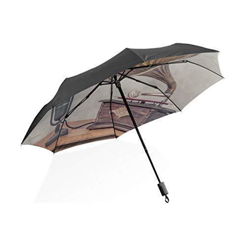 Paraguas para Adultos Gramófono Antiguo con bocina Altavoz Portátil Compacto Paraguas Plegable...