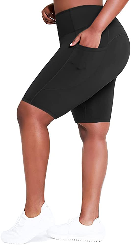 GOODYEZZ Women Plus Size Exercise Activewear Yoga Short Pants Outdoor High Elastic Sport Shorts with Pockets