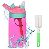 Flintronic Sippy Cup, 480ML Kids Drink Bottle, Toddler Cup, Leak-Proof, Shatter-Proof, BPA-Free for Water, Milk (Brush Included)