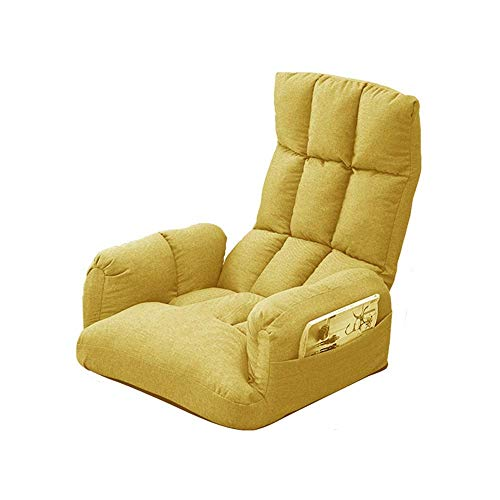 TXX Silla Sillón de Suelo Lazy Lounge Sofa con Bolsa de Almacenamiento Lateral Sillón de Suelo Plegable con Reposabrazos Sillón de Suelo de Meditación Sillón Extraíble Y Lavable,Amarillo