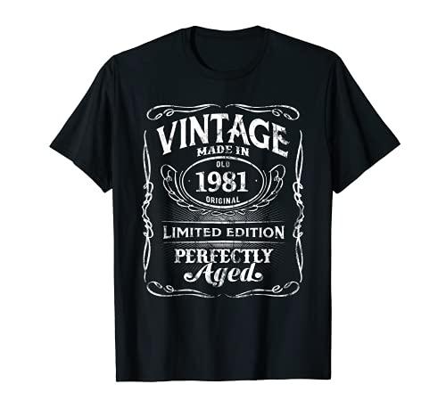 Vintage Premium Made In 1981 Classic 40th Birthday Camiseta