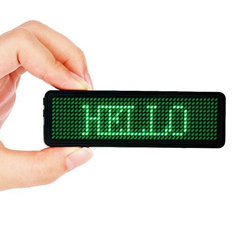 Namensschilder, VADIV LED-Namensschild 44*11 Pixel Digital-Rollbalken Programmierung Digital Scroll Label Verbindung USB Wiederaufladbar Freies Laufwerk Nur für Windows - Grün