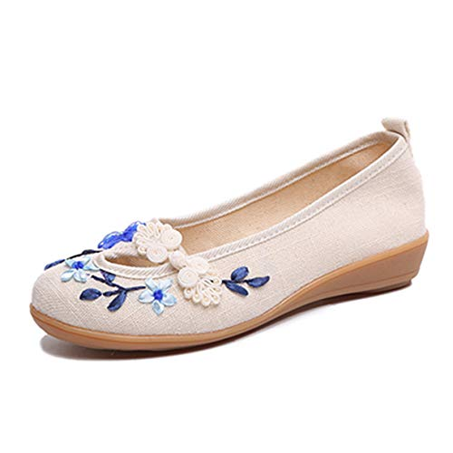 Frauen-stilvolle Flache Schuhe gestickte Blumen-weibliche beiläufige handgemachte Mokassins