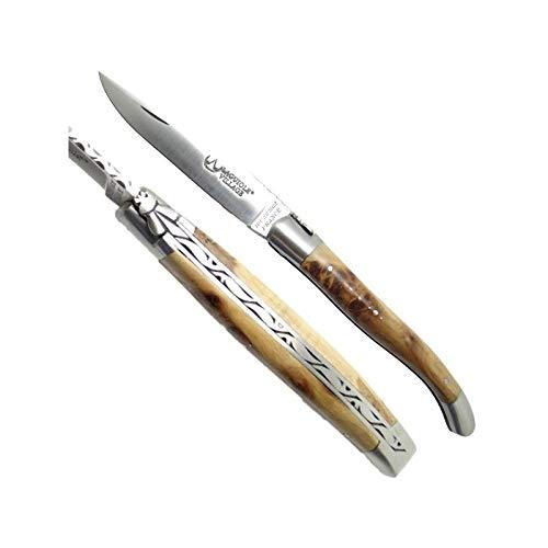 LAGUIOLE authentisch Sammlermesser - Wacholderholzgriff Dicke 8 mm pro Seitenteil. kommt in einem Fall mit in den Griff geschlagenem Schäferskreuz Länge aufgeklappt: 21.5 cm (12 cm geschlossen) 90 gr Klinge schwedisches Edelstahl 14C28 Dicke. Handwerkliche Französisch Herstellung.