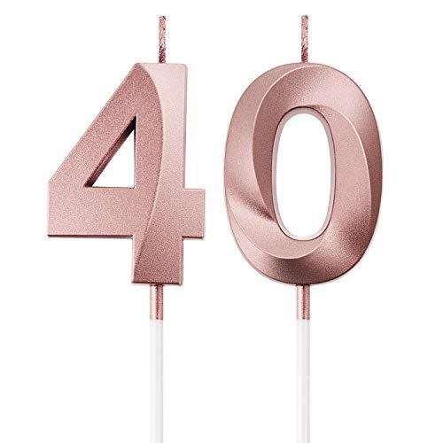 BBTO Bougies de 40e Anniversaire Bougies de Gâteau de Numéro Décoration de Gâteau Topper Joyeux Anniversaire pour Fournitures de Fête d anniversaire Mariage Célébration (Or Rose)