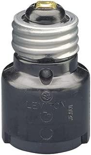 "Leviton 2006 009-0-000 1-Piece Socket Adapter, 660 W, 250 V, Incandescent, Medium Base, 1-3/16"", Black"