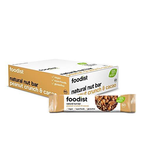 Foodist BIO Vollnussriegel Peanut Crunch Cacao, glutenfrei, vegan, Erdnussriegel, Nutbar mit 100 % natürlichen Zutaten - 12er Pack (12 x 40g)