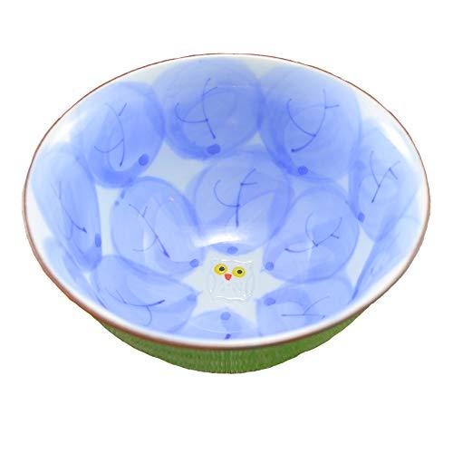茶碗 有田焼 波佐見焼 木の葉ふくろう茶付(大・緑) 大きめサイズ お茶碗 飯碗 和食器 三階菱