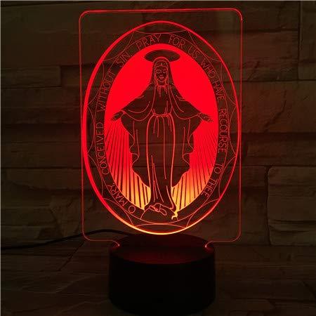Jesús Religioso Lámpara De Ilusión Led 3D 7 Colores Cambian La Luz