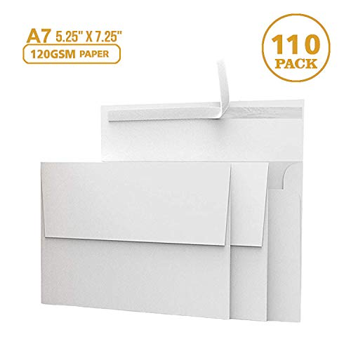 White Invitation 5 x 7 Envelopes 110 pack - For 5x7 Cards - A7 - (5 ¼ x 7 ¼ inches) - Perfect for Weddings, Graduation, Any Cards - 120 GSM - 32lb/80lb Text - Peel, Press & Self Seal - Square Flap