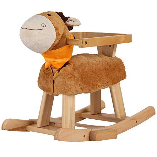 Baby Rocking Horse Ride Toy, Rocking Horse Children's Wooden Horse Solid Wood Music Toy Rocking Chair Low Young Age Gift Car