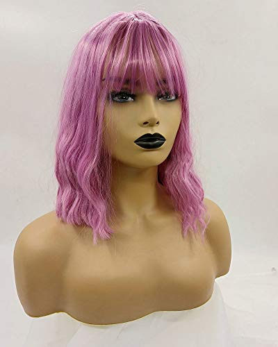 Mixed Warm Color Pink Lilac Lavender Purple Synthetic Wigs Bouncy Curly Drag Queen None-Lace Wigs for Women Festival Make-up Party Cosplay Replacement