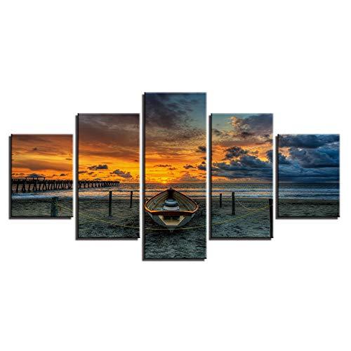 Murturall 5 stuks afdrukken op canvas, boot met zonsondergangsstrand canvas schilderij Moderne muurkunst foto's wooncultuur poster 100x55cm