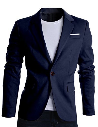 FLATSEVEN Giacche Blazer Slim Fit Casual Premium Uomo (BJ102) Blu Marino, XXL
