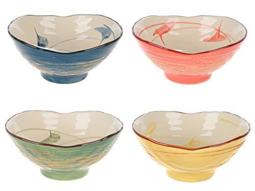 CoolChange Cuencos de de cerámica Japonesa, 4 Piezas, diámetro 11cm, Pintado a Mano