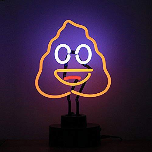 Chi-buy Real Glass Tube Neon Light Sign Cute Poop Emoji Neon Signs...