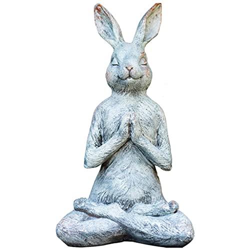 ALIANG Adornos de decoración de jardín, Estatua de Conejo de Hada del país, Figura de Resina de Yoga en oración, Escultura de jardín Interior al Aire Libre, Patio, Patio, Leyn decoración de 13 pul