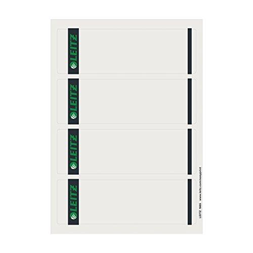 Leitz PC-beschriftbare Rückenschilder selbstklebend für Standard- und Hartpappe-Ordner, 400 Stück, Kurzes und breites Format, 62 x 192 mm, Papier, grau, 16850085
