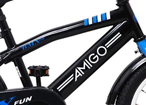 amiGO BMX Fun – Kinderfahrrad – 16 Zoll – Jungen – mit Rücktritt und Stützräder – ab 4 Jahre – Schwarz/Blau - 2