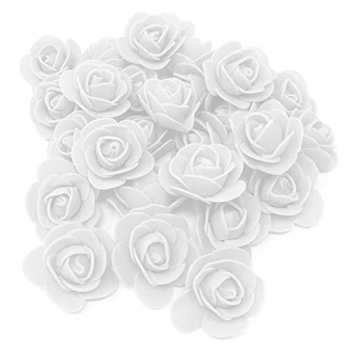 Lot de 25 roses décoratives en mousse Blanc 30 mm