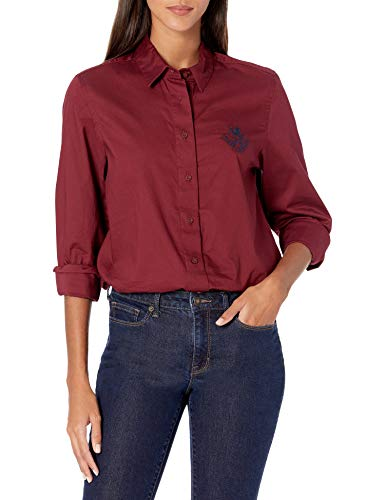 Tommy Hilfiger Damen ADP W Cedar SOLID Oxford Shirt Bowling-Hemd, Pflaumenglasur, Klein