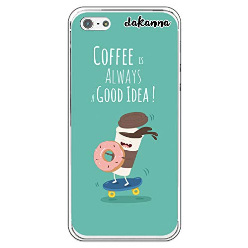dakanna Funda para iPhone 5-5S - SE | Comida Café y Donut en Patinete | Carcasa de Gel Silicona Flexible Transparente