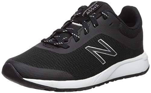 New Balance Kid's 455 V2 Lace-Up Running Shoe, Black/White, 6 M US Big Kid