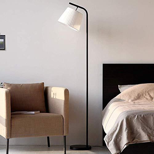 ZHTY LED Stehlampenfuß Schwarz Nordic Stehlampe für Schlafzimmer Stoff Lampenschirm Augenpflege Eisenfuß Wohnzimmer Lampentisch für Stairwell, Company