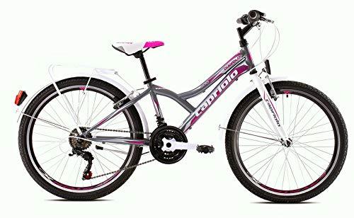 breluxx® 24 Zoll Kinderfahrrad Schulfahrrad Diavolo400 City, weiß-grau, 18 Gang Shimano + Gepäckträger + Beleuchtung nach StVo - Modell 2020