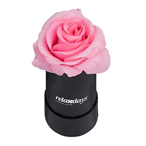 Relaxdays Rosenbox rund, 1 Rose, stabile Flowerbox schwarz, 10 Jahre haltbar, Geschenkidee, dekorative Blumenbox, rosa