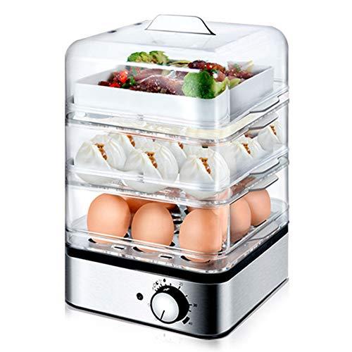 QHAI 3 Schicht-transparente Eierkocher, 220V Elektrisches Dampfgarer Frühstück Pot Baby-Babyflasche Sterilisator Anti-Dry Brennen