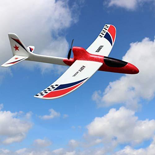 Yzki RC Juguete de avión eléctrico, espuma EPP mando a distancia con 2.4 GHz con funda de batería, juguete volador de mano para niños, Rojo, Tamaño libre