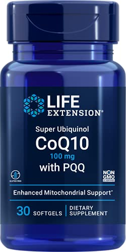 Life Extension Super Ubiquinol CoQ10 with PQQ & Shilajit - Triple-Action Heart Health & Cellular Energy Support – Gluten Free, Non-GMO – 30 Softgels