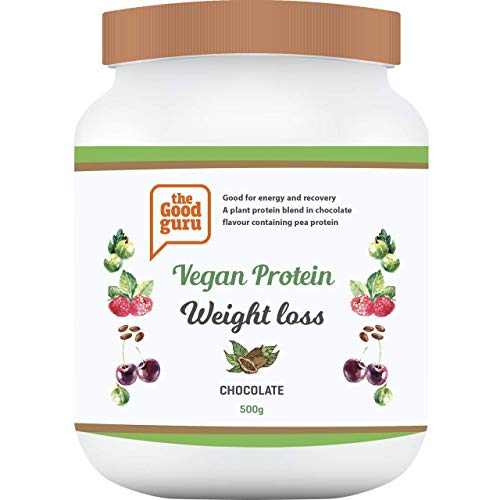 Diet Vegan Protein Blend by The Good Guru | Supports Weight Loss and Muscle Gain| Dairy Free Shake in Vanilla & Chocolate (Chocolate)