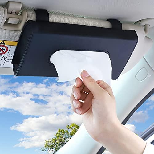 Accmor Car Sun Visor Tissue Holder, Vehicle PU Leather Napkin Organizer Paper Towel Clip Box, Backseat Sun Visor Tissue Hanging Case for Truck, Auto, SUV