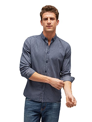 TOM TAILOR Herren Ray Soft Pattern Mix Shirt Freizeithemd, Blau (Navy 01 6423), XXX-Large